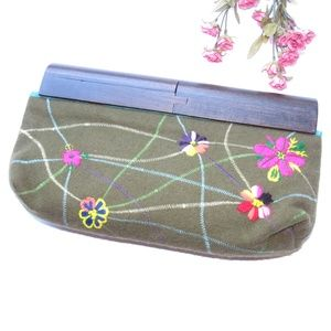 Free People Embroidered Wood Handle Clutch Purse